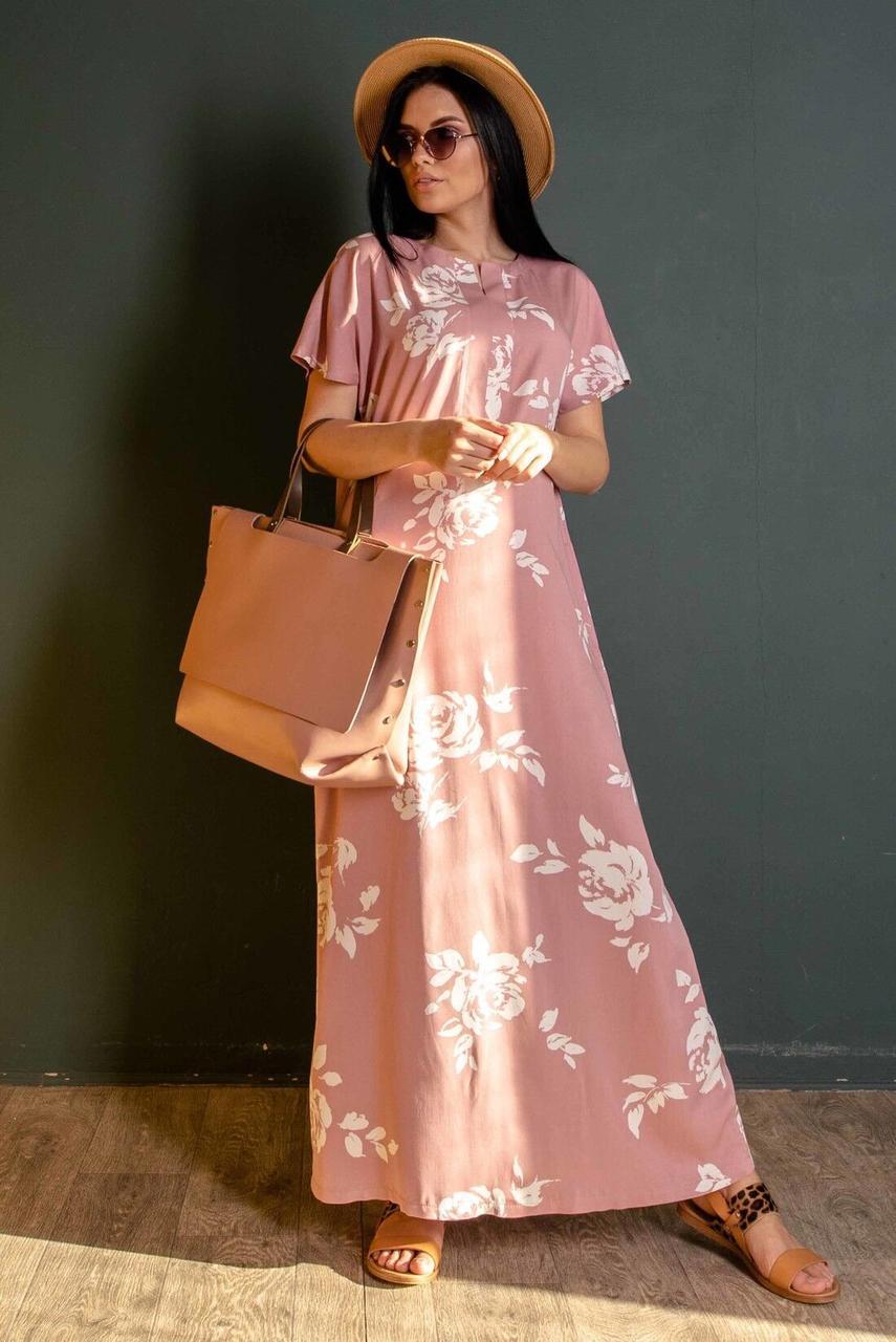 Сукня жіноча, колір: пудра принт, розмір: 42, 44, 46, 48, 50, 52, 54, 56