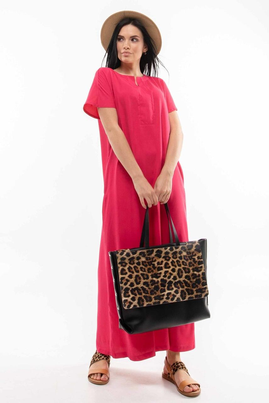 Красивое летнее  платье большого размера модное   цвет: малина, размер: 42, 44, 46, 48, 50, 52, 54, 56