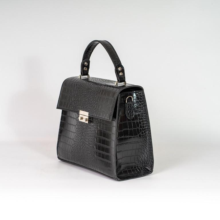 Черная женская мини сумка келли K27-20/1 через плечо молодежная кросс-боди под крокодила