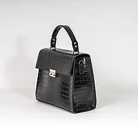 Черная женская мини сумка келли K27-20/1 через плечо молодежная кросс-боди под крокодила, фото 1