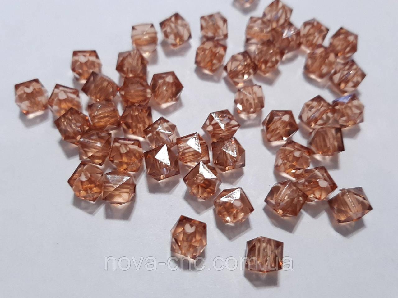 """Бусины акрил """"Куб грани"""" коричневый 12 мм 500 грамм"""