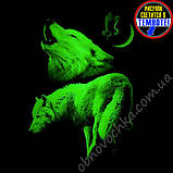 """Мужская светящаяся футболка """"Два волка"""" размер L, фото 2"""