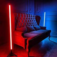 LED ночник для интерьера, 2 метра черного цвета, smart светильник, светодиодная разноцветная лампа, лед торшер