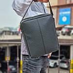 Чоловіча стильна сумка барсетка через плече чорна еко-шкіра ., фото 5