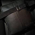 Чоловіча стильна сумка барсетка через плече чорна еко-шкіра ., фото 2