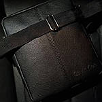 Мужская стильная сумка барсетка через плечо черная эко-кожа ., фото 2