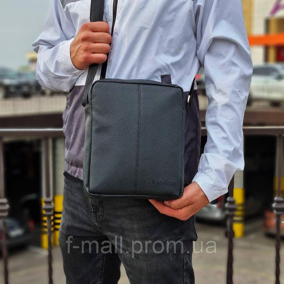 Мужская стильная сумка барсетка через плечо черная эко-кожа .