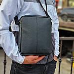 Чоловіча стильна сумка барсетка через плече чорна еко-шкіра ., фото 3