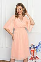 Легкое шифоновое платье миди с ложным запахом и рукавом-крылышко. Персикового цвета, фото 1