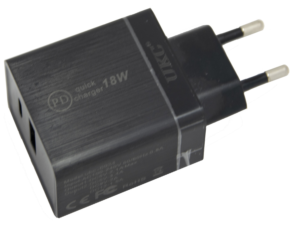 Зарядний пристрій для телефону UKC-6924 18W, блок зарядки телефону quick charge 3.0   чорна