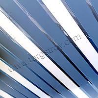 Реечный подвесной алюминиевый потолок: синий с белым и с зеркальной хромовой вставкой