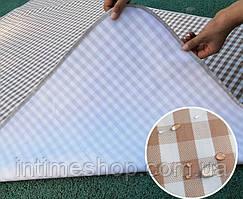 Покривало для пікніка бежеве в клітинку, килимок для пікніка 150х200 см, пляжний килимок (коврик для пляжа)