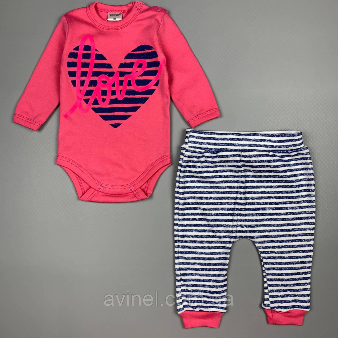 Комплект боди, штаны девочка розовый Интерлок Marry Bee Украина 62(р)