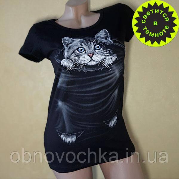 """Женская светящаяся футболка """"Котенок"""" размер L"""