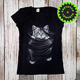 "Женская светящаяся футболка ""Котенок"" размер L, фото 2"