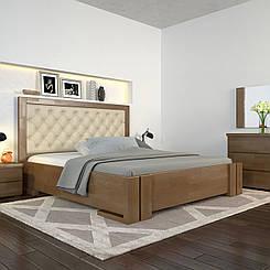 Ліжко дерев'яне двоспальне Амбер з підйомним механізмом