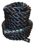 Канат для кроссфіта Power System Battle Rope PS-4047 Black / Orange