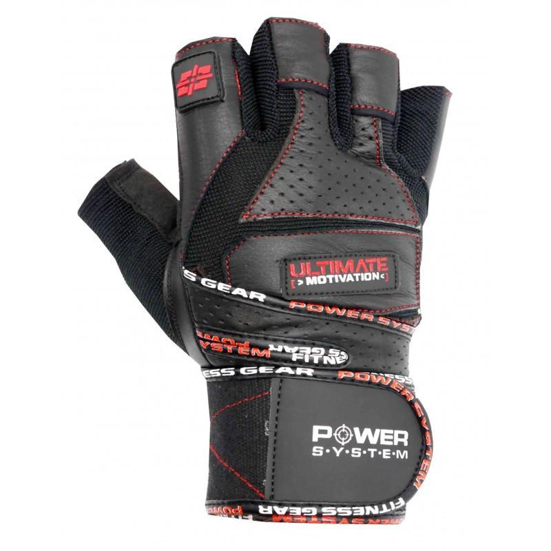 Перчатки для фитнеса и тяжелой атлетики Power System Ultimate Motivation PS-2810 Black Red Line L