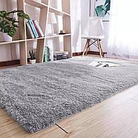 Пушистый прикроватный коврик с длинным ворсом  Травка 150*200 светло-серый