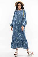 Красивое стильное платье большого размера для полных женщин ц. синий р. 52, 42, 46, 48, 50, 44, 54, 56