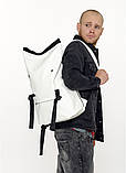 Модный мужской городской белый рюкзак роллтоп из экокожи (качественный кожзам), фото 10