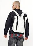Модный мужской городской белый рюкзак роллтоп из экокожи (качественный кожзам), фото 5