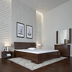 Ліжко дерев'яне двоспальне Доміно з підйомним механізмом