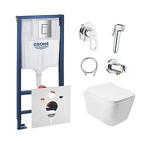 Комплект інсталяція Grohe Rapid SL 38772001 + унітаз з сидінням Qtap Crow QT05335170W + набір для гігієнічного