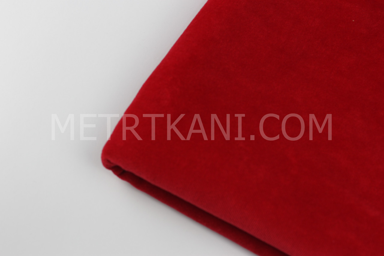 Лоскуток. Велюр х/б красного цвета, 92*180 см