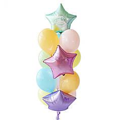 Связка: звезда сатин сиреневая, звезда сатин мятная с белой надписью Happy Birthday, звезда сатин розовая, 10