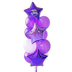 Связка: 2 звезды фиолетовые, на одной белая надпись Happy Birthday, звезда лиловая, 4 фиолетовых металлик, 3