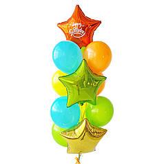 Связка: звезда золотая, звезда оранжевая с белой надписью Happy Birthday, звезда салатовая, 3 аква блу, 2
