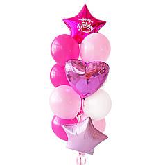Связка: звезда фуксия с белой  надписью Happy Birthday , сердце розовое металлик, звезда розовая пастель, 3