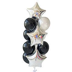Связка: 3 звезды серебро, на одной белая надпись Happy Birthdaу, 6 черных шаров, 4 серебро металлик