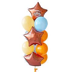 Связка: 3 звезды сатин розовое золото, на одной белая надпись Happy Birthday, 2 голубых, 2 макарун персик, 3