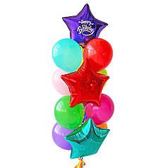 Связка: звезда красная, фиолетовая с белой надписью Happy Birthday, изумрудная + 10 шаров ассорти