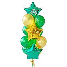Связка: 2 звезды зеленые, на одной белая надпись Happy Birthday, звезда золото, 6 зеленых металлик, 4 золото