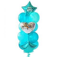 Связка: 2 звезды изумрудные, на одной белая надпись Happy Birthday, сердце серебро, 3 аквамарин декоратор, 4