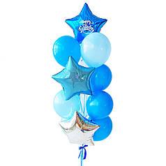 Связка: звезда синяя с белой надписью Happy Birthday, звезда голубая, звезда серебро, 3 белых, 4 синих, 3