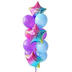 Связка: 3 звезды радужные, на одной белая надпись Happy Birthday, 4 сиреневых, 3 голубых, 3 фуксия шаров