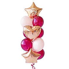 Связка: 2 звезды розовое золото, на одной белая надпись Happy Birthday, сердце розовое золото,  5 бургундия