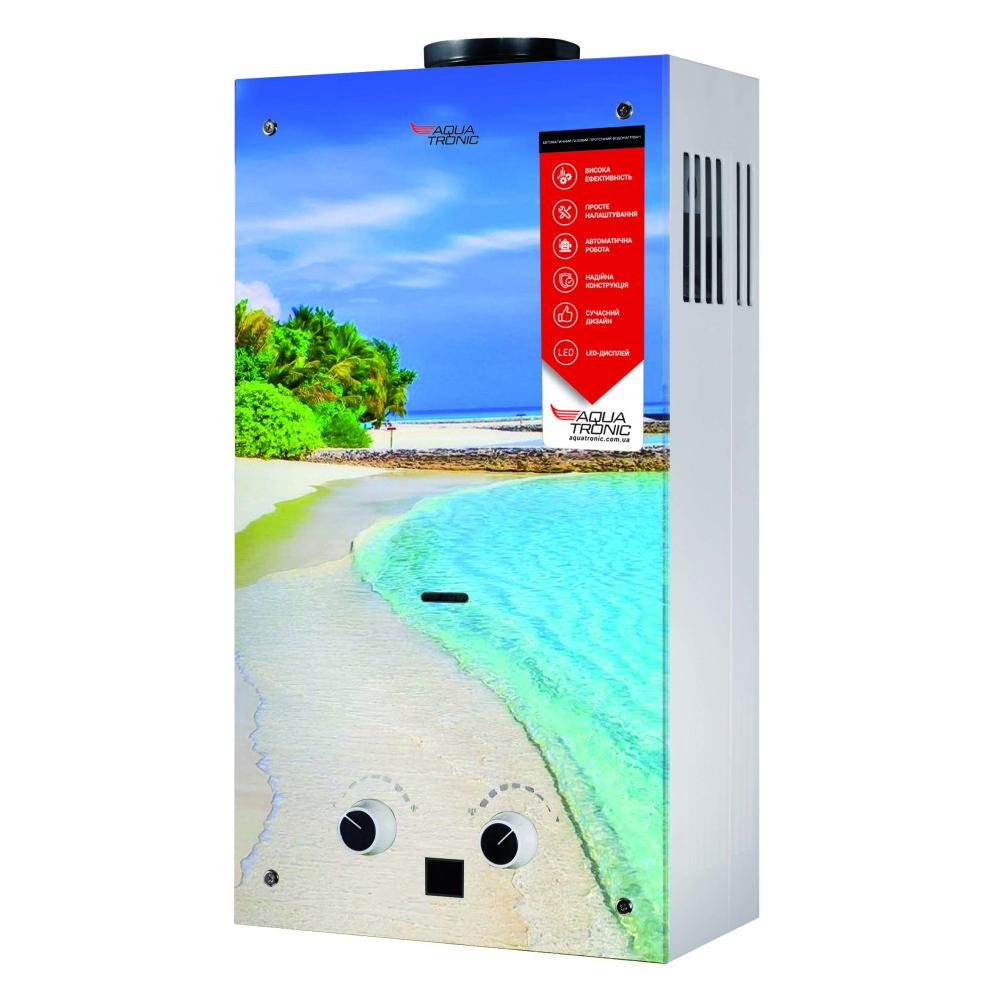 Газова колонка Aquatronic димохідна JSD20-AG308 10 л скло (пляж)
