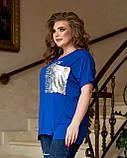 Жіноча літня футболка тканина віскоза + паєтки короткий рукав розмір: 52-54, 56-58,60-62,64-66, фото 2