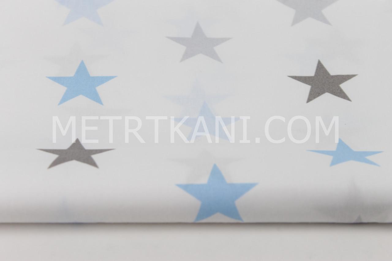 Лоскуток. Ткань с  звездами 4 см серо-голубыми на белом фоне, 34*160 см
