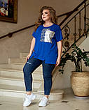 Жіноча літня футболка тканина віскоза + паєтки короткий рукав розмір: 52-54, 56-58,60-62,64-66, фото 4