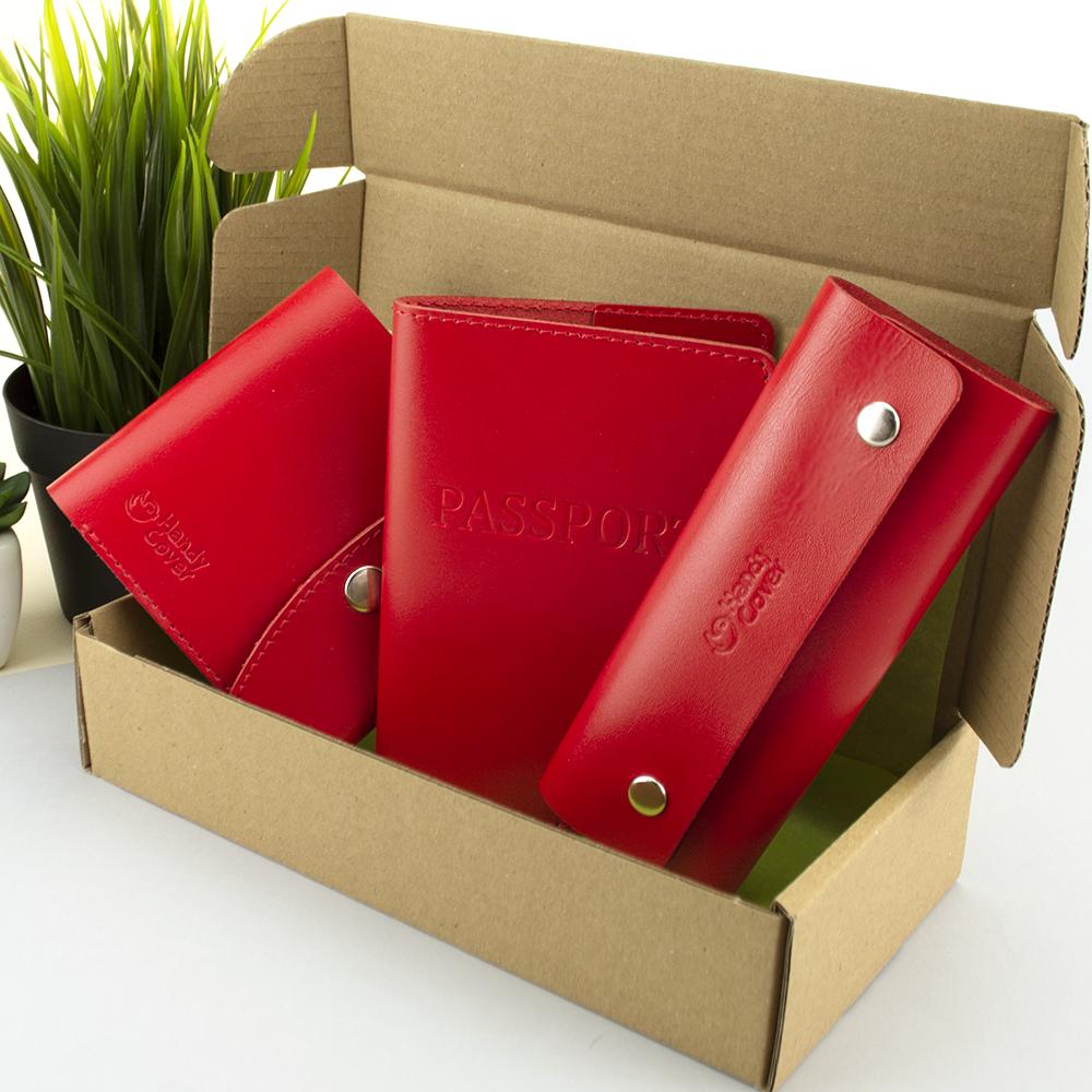 Подарочный набор женский Handycover №54 (красный) кошелек + ключница + обложка на паспорт