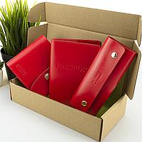 Подарочный набор женский Handycover №54 (красный) кошелек + ключница + обложка на паспорт, фото 1