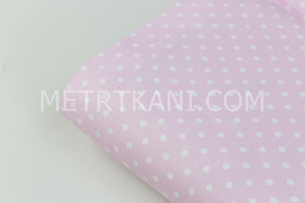 Клаптик. Бавовняна тканина горох 4 мм білий на рожевому тлі,28*95 см