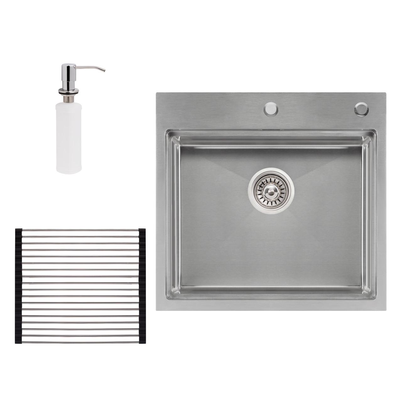 Набір 3 в 1 Qtap кухонна мийка DH5050 3.0/1.2 мм Satin + сушарка + дозатор для миючого засобу