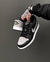 Чорні чоловічі кросівки Nike Air Jordan 1 Low з сірою вставкою   шкіра + гума   прошиті, фото 1
